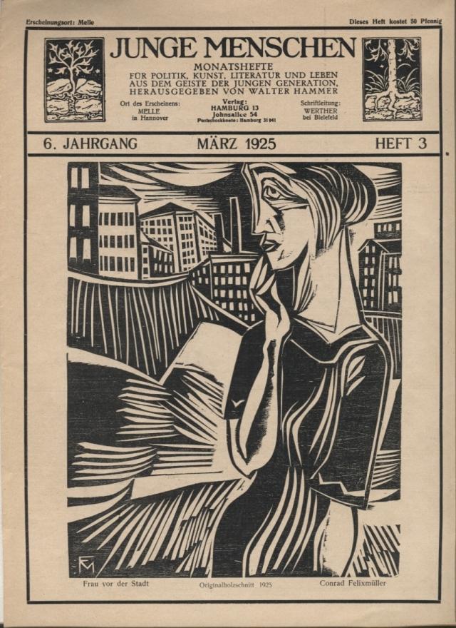 Conrad Felixmüller. Frau vor der Stadt (Dona davant de la ciutat). Neue Jugend, número 3; Hamburg, 1925