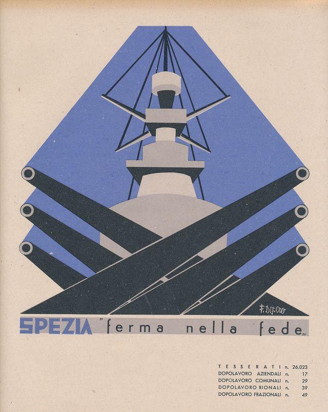 """Fortunato Depero. """"I dopolavoro aziendali in Italia (Spezia, Varese)"""". Roma: Opera nazionale del dopolavoro, 1938"""