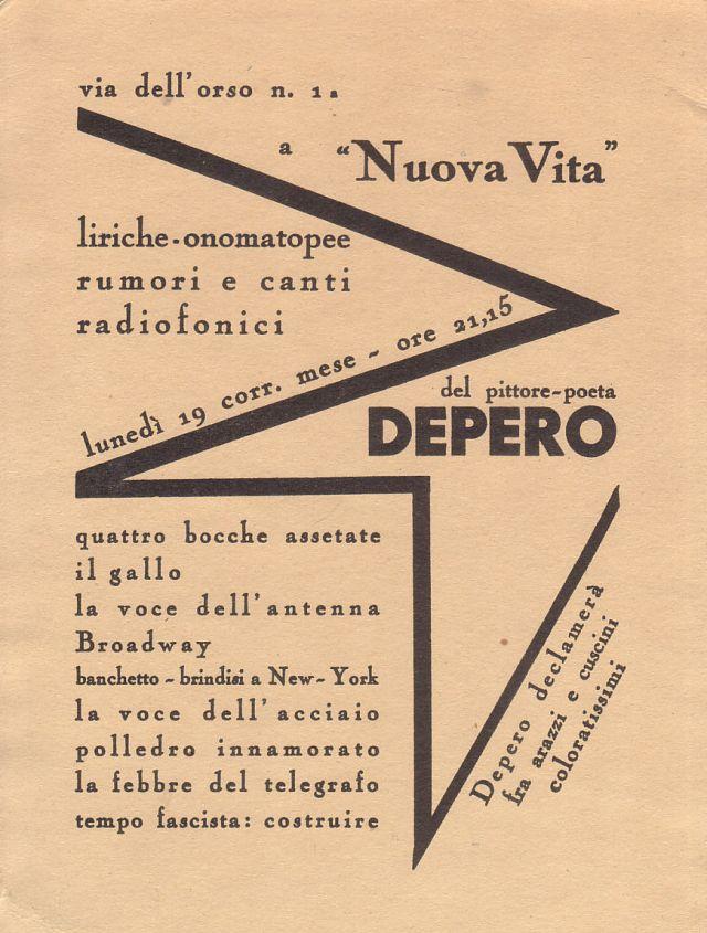 """Fortunato Depero. """"Liriche-onomatopee"""". Milà: Nuova Vita, 1934"""
