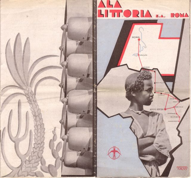 """Tato (Guglielmo Sansoni). """"Ala Littoria, S.A., Roma"""". Roma: Ala Littoria, circa 1938"""