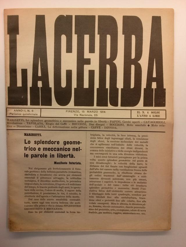 """Filippo Tommaso Marinetti. """"Lo Splendore geometrico e meccanico nelle parole in libertà: manifesto futurista"""". Lacerba, nº 6, Florència, 1914"""