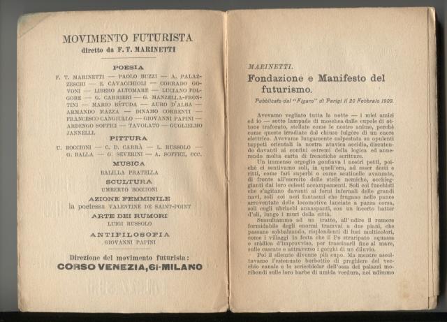 """I Manifesti del futurismo Florència: Edizioni di """"Lacerba"""", 1914"""